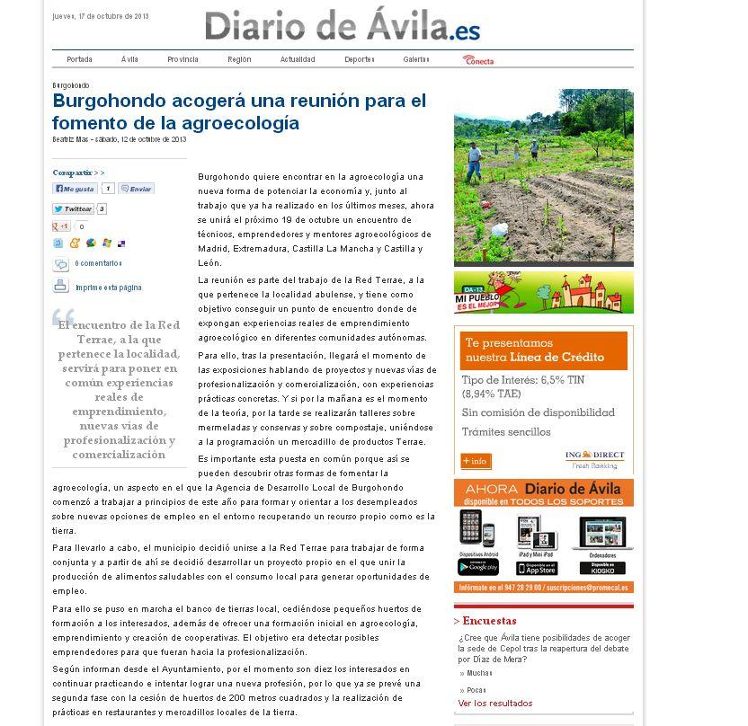 Diario Avila jornadas Burgohondo