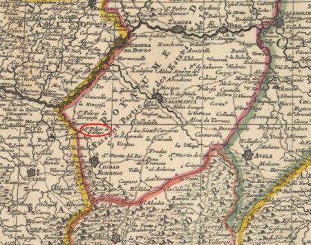 Ubicación de San Felices de los Gallegos en un mapa de 1710